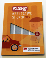 4 Reflective stickers 3M Scotchlite - bars to stick (repositionable) where you want (helmet, rollerskis, jacket, bike... 1.5 x 12 cm)